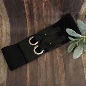 Wide Black Elastic Cinch Belt double closure S/M